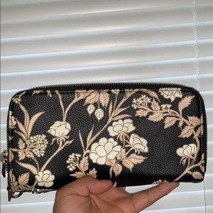 Floral Print Double Zipper Wallet